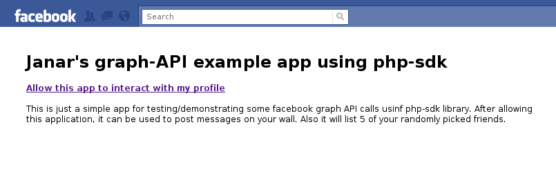 Example of facebook iframe app using graph-API calls through