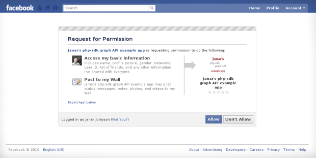Facebook application permission request