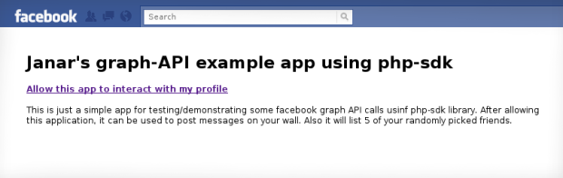 Facebook iframe example app - not allowed view